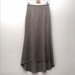 Club Monaco 100% SILK Maxi Skirt in Olive GREAT 0